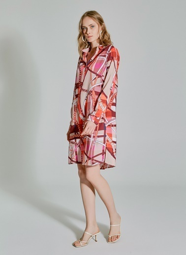 People By Fabrika Desenli Gömlek Elbise Renkli